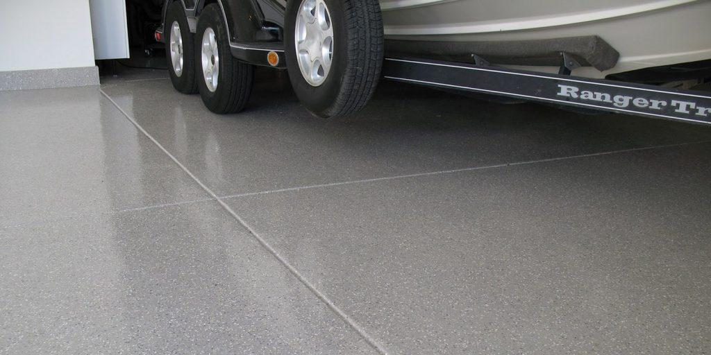 a gray tiled floor